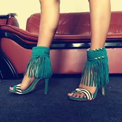 Shoespie Long Fringes Ankle Wrap Stiletto Heel Sandals