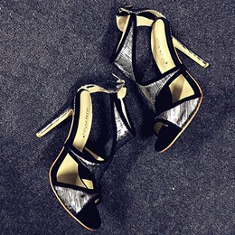 Shoespie Silver Trimmed Stiletto Heel Dress Sandals