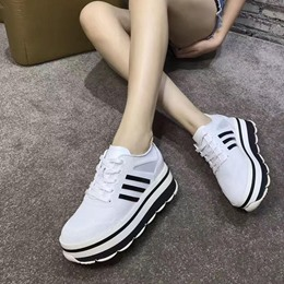 Shoespie Breathable Lace-up Flatform Sneaker