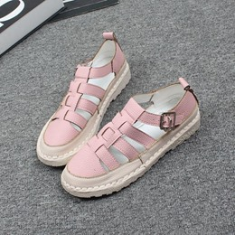 Shoespie Handmade Soft Leather Cutout Flat Sandals(buy one size larger than normal size)