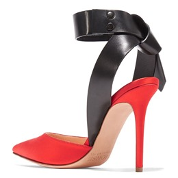 Shoespie Color Block Buckle Ankle Wrap Stiletto Heels