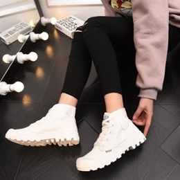 Shoespie Gorgeous Lace-up Thick-soled Canvas Shoes