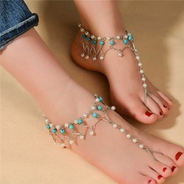 Shoespie Personality Handmade Turquoise Pearl Tassel Anklet