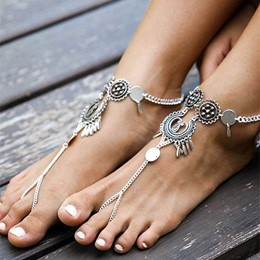 Shoespie Vintage Metal Pendant Tassel Anklet for Women