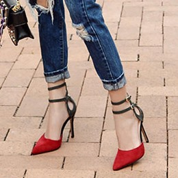 Shoespie Sexy Double Ankle Wrap Pointed-toe Stiletto Heels