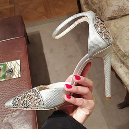 Shoespie Pointed Toe Banquet Rhinestone Serpentine Stiletto Heel