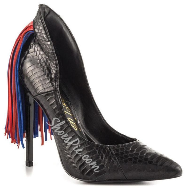 Shoespie Black Serpentine Tassel Color Block Stiletto Heels