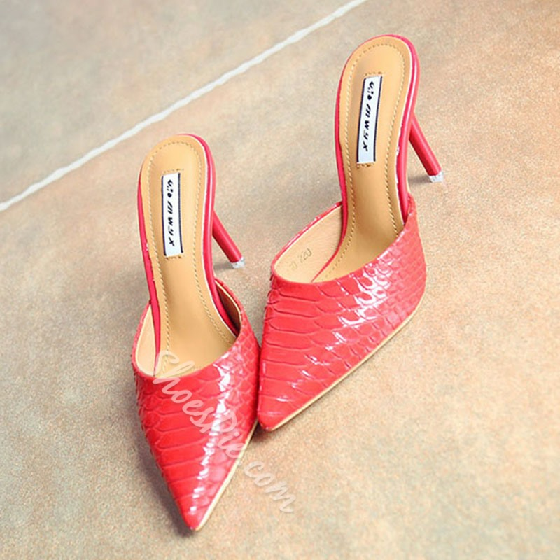 Shoespie Ladies Pointed-toe Shallow Slipper Low Heels