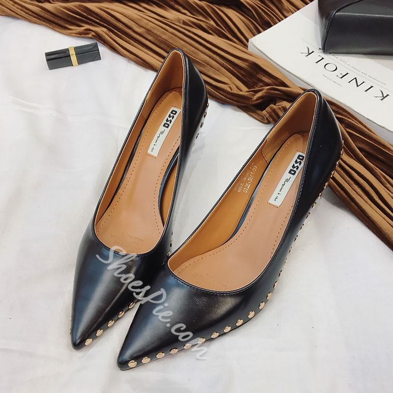 Shoespie Pointed Spike Low Heels