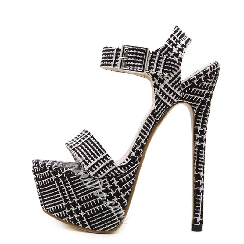 Shoespie Black and White Cloth Platform Heel Sandals