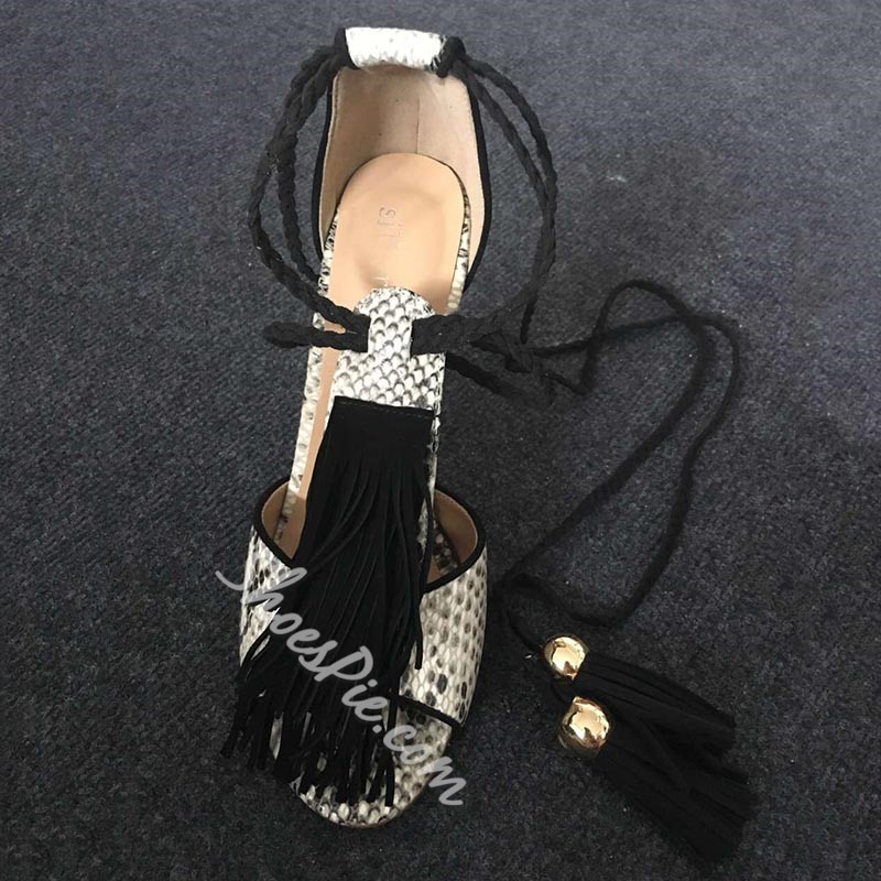 Shoespie Snakeskin Pattern Lace Up Tassels Decorated Stiletto Heel Sandals