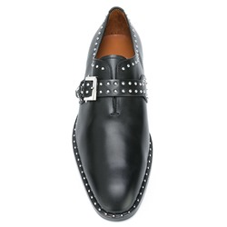 Shoespie Black Buckle & Rivets Men's Dress Shoes