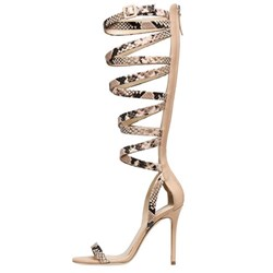 Shoespie Apricot Snake Pattern Caged Gladiator Sandals