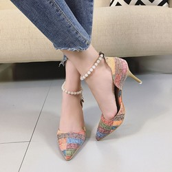 Shoespie Contrast Color Ankle Beaded Cheap Heels