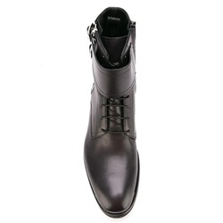 Shoespie Solid Black Double Buckles Zipper Men's Fashion Boots