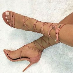 Shoespie Pink Cross Strap Stiletto Heel Sandals