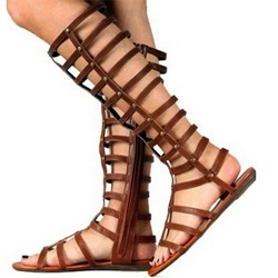 Sheospie Zipper Open Toe Flat Gladiator Sandals