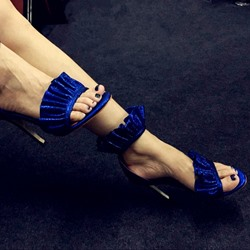 Shoespie Royal Blue Falbala Two Part Dress Sandals