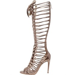 Shoespie Golden Color Caged Gladiator Sandals
