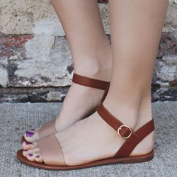 Shoespie Open Toe Ankle Strap Flat Sandals