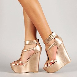 Shoespie Golden Platform Heel Covering Wedge Sandals