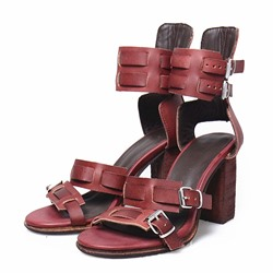 Shoespie Vintage Buckled Block Heel Dress Sandals