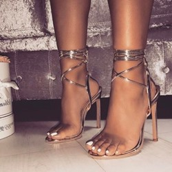 Shoespie Lace-Up Open Toe Stiletto Heel Sandals