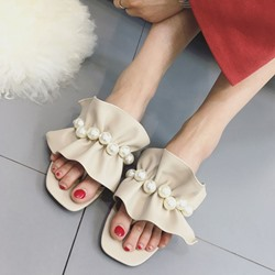 Shoespie Pearl and Ruffle Slippers