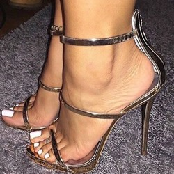 Shoespie Zipper Open Toe Stiletto Heel Sandals