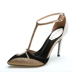 Shoespie Sexy Rhinestone Pointed-toe T-Strap Stiletto Heels