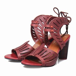 Shoespie Retro Smart Cut Out Block Heel Comfortable Sandals
