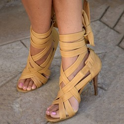 Shoespie Yellow Strappy Ankle Wrap Open Toe Stiletto Heel Sandals