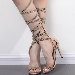 Shoespie Lace Up Stiletto Heel Gladiator Sandals