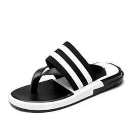 Shoespie Black and White Stripes Men's Slippers