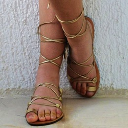 Shoespie Golden Cross Strap Toe Ring Flat Gladiator Sandals
