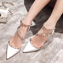 Shoespie Sexy Pointed-toe Rivets Winding Mid-Heels