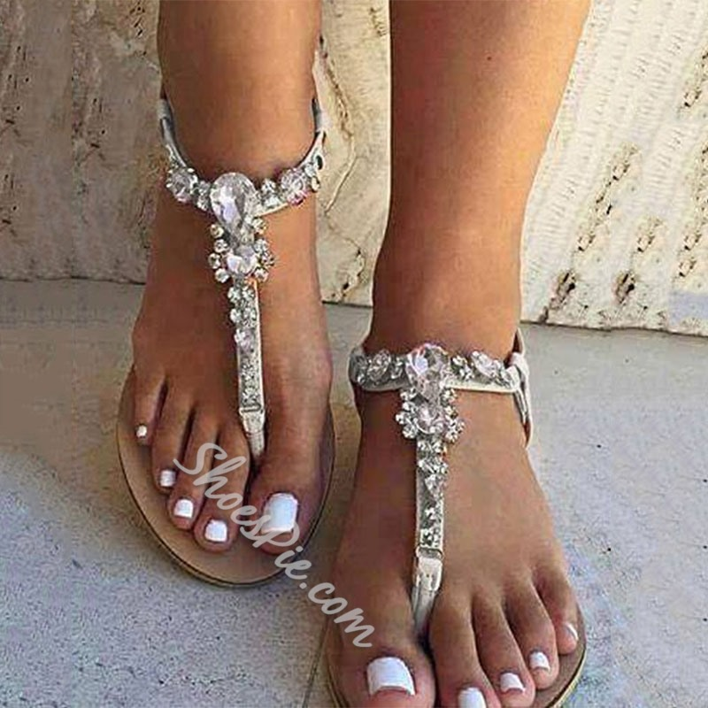 Shoespie White Rhinestone Thong Flat Sandals- Shoespie.com