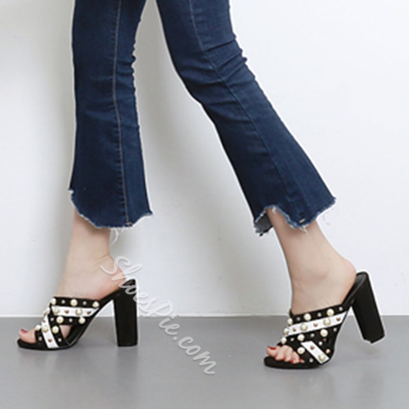 Shoespie Embellished Chunky Heel Mules