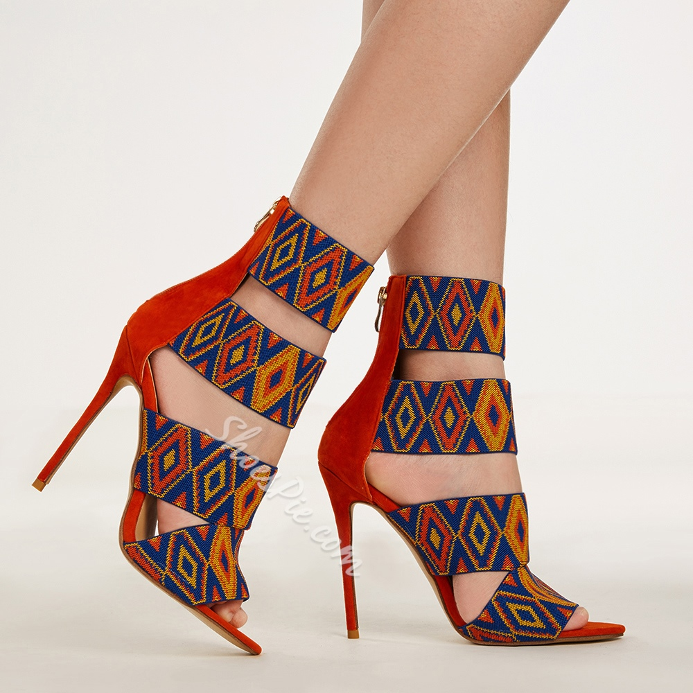 Shoespie Colorful Geometric Print Sandals