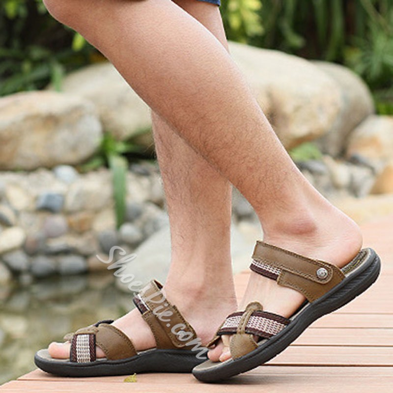Shoespie Patchwork Threading Men's Slippers