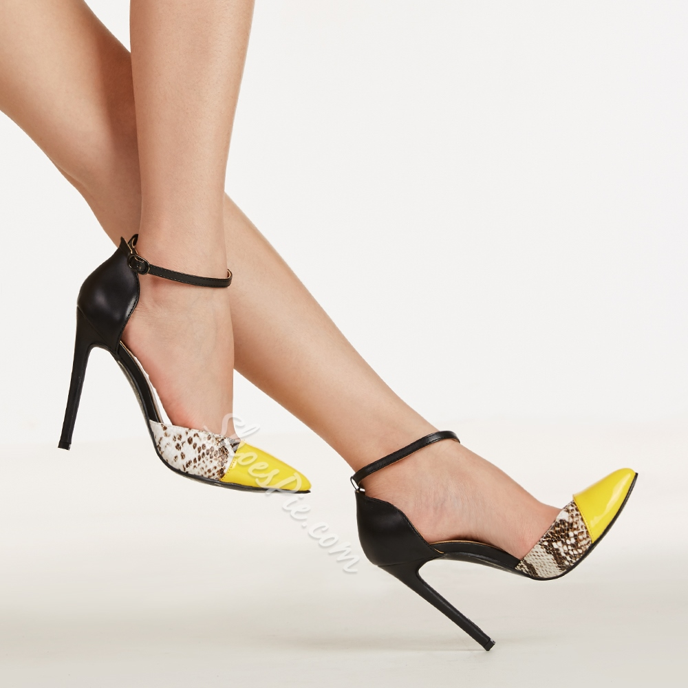 Shoespie Assorted Color Point Toe Snakeskin Dress Sandals