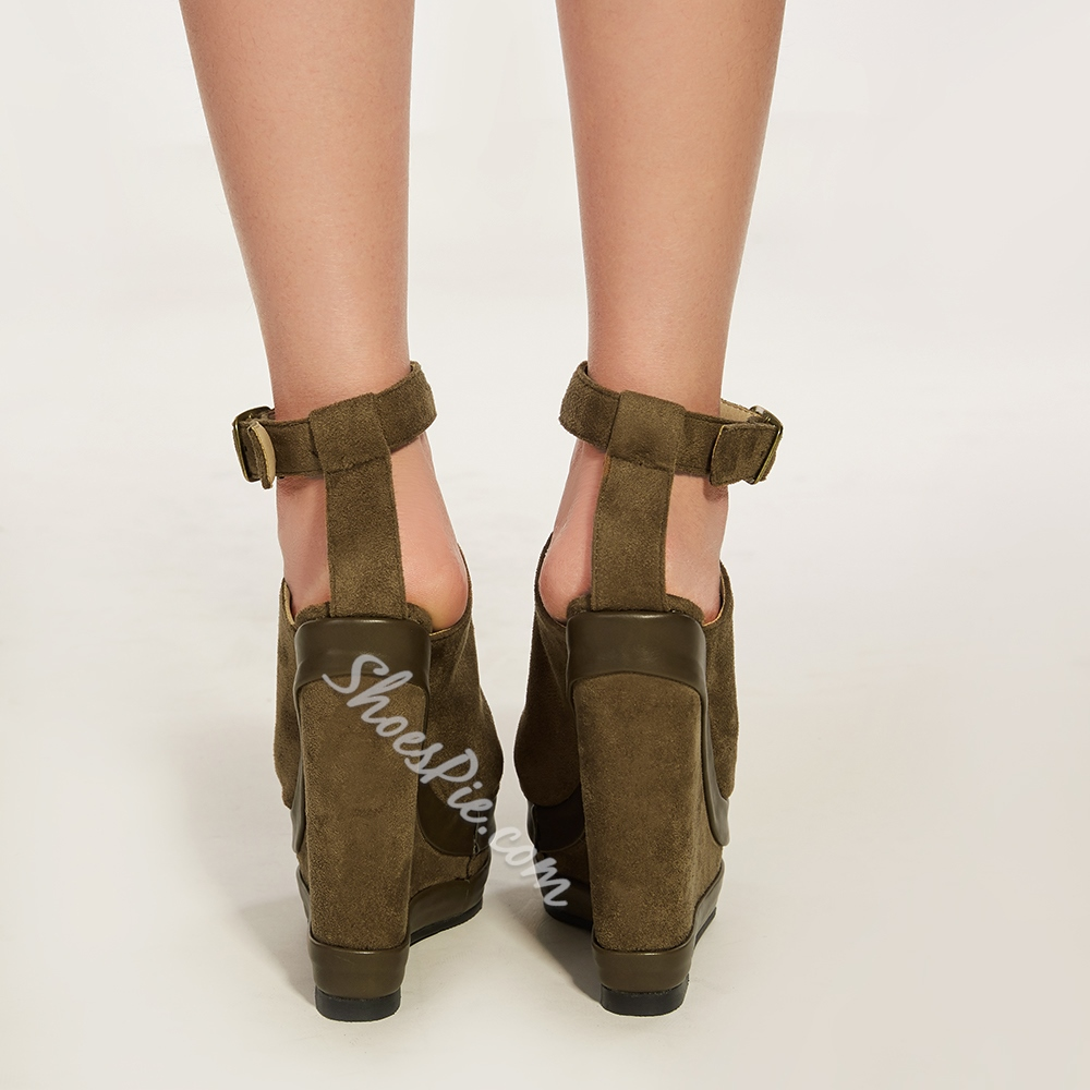 Shoespie Khaki Wedge Sandals