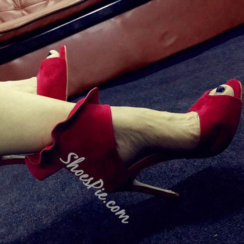 Shoespie Solid Falbala Peep Toe Stiletto Heels
