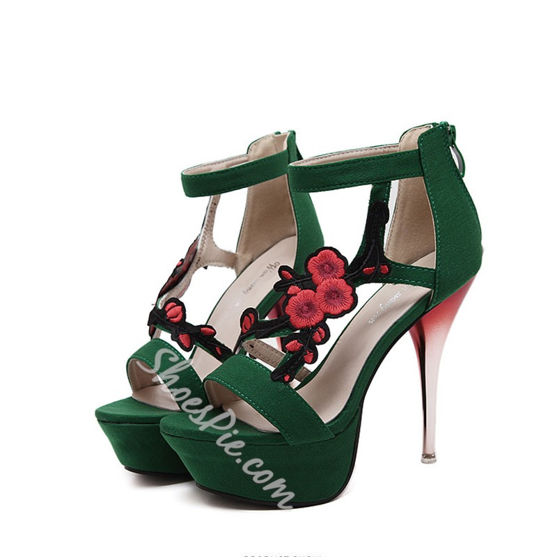 Shoespie Floral Embroidery Banquet Platform Stiletto Heel Sandals