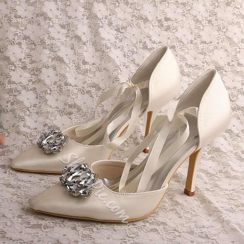 Shoespie Silk Fabric Pointed Toe Lace-Up Rhinestone Stiletto Heel