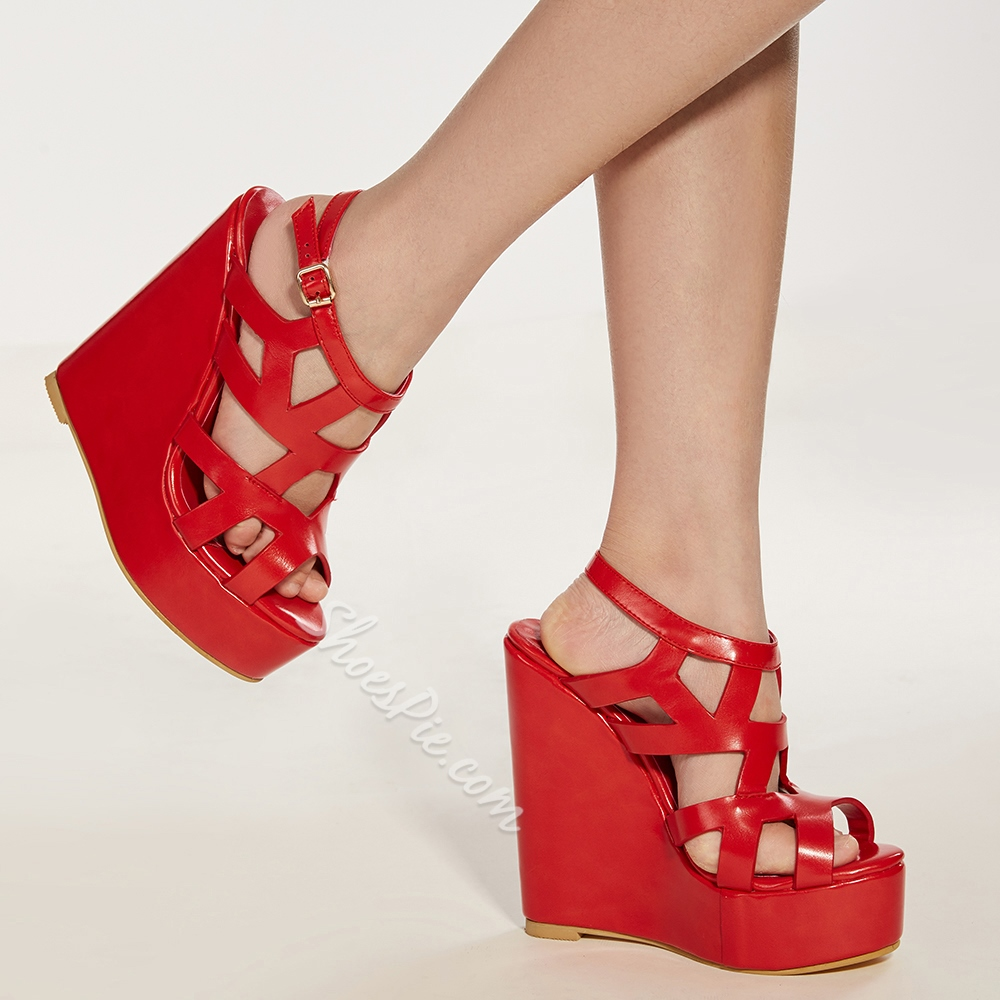 Shoespie Sophisticated Coppy Leatrher Cut-Outs Wedge Sandals