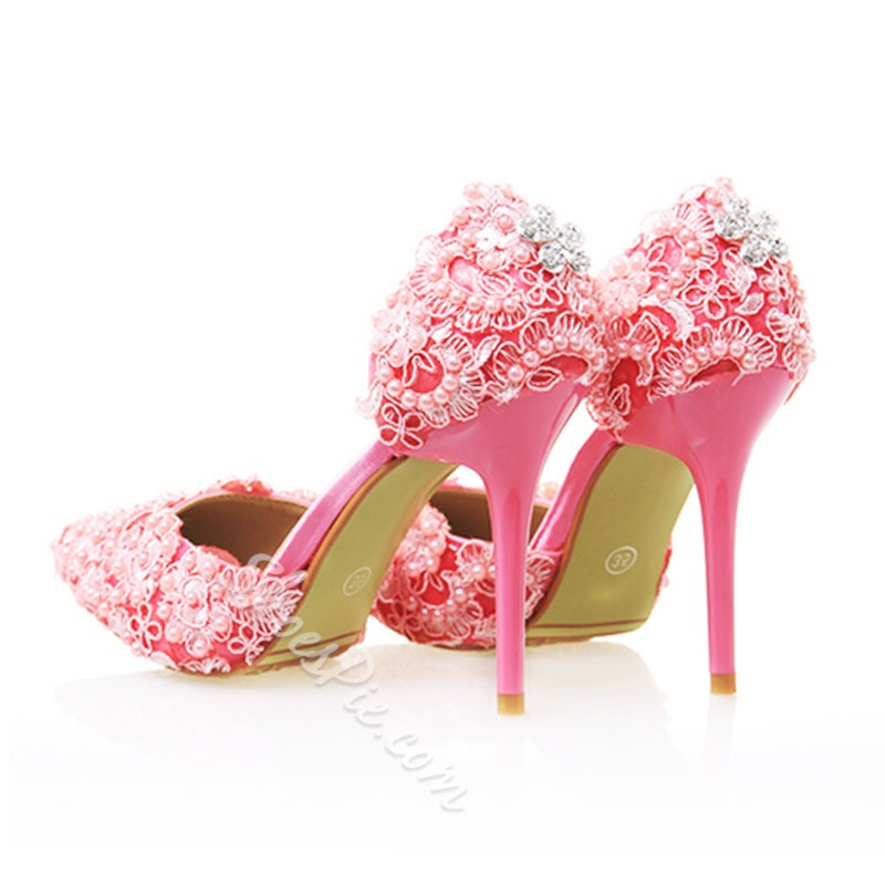 Shoespie Sweet Pink Flower Appliqued Bridal Shoes
