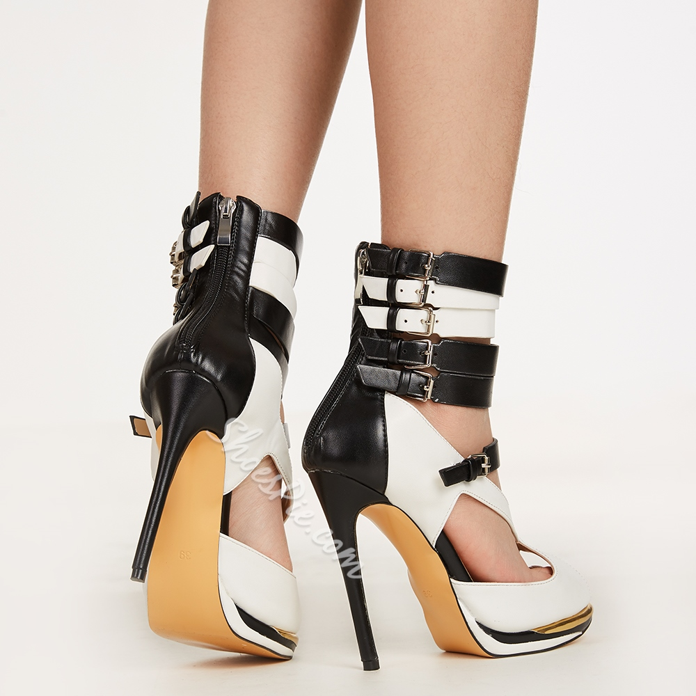 Concise Contrast Color Leather Dress Sandals