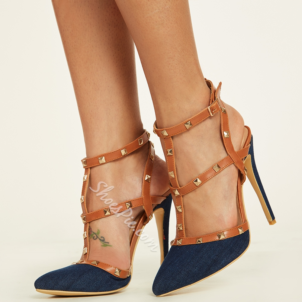 Shoespie Denim Rivets Decoration Stiletto Heels
