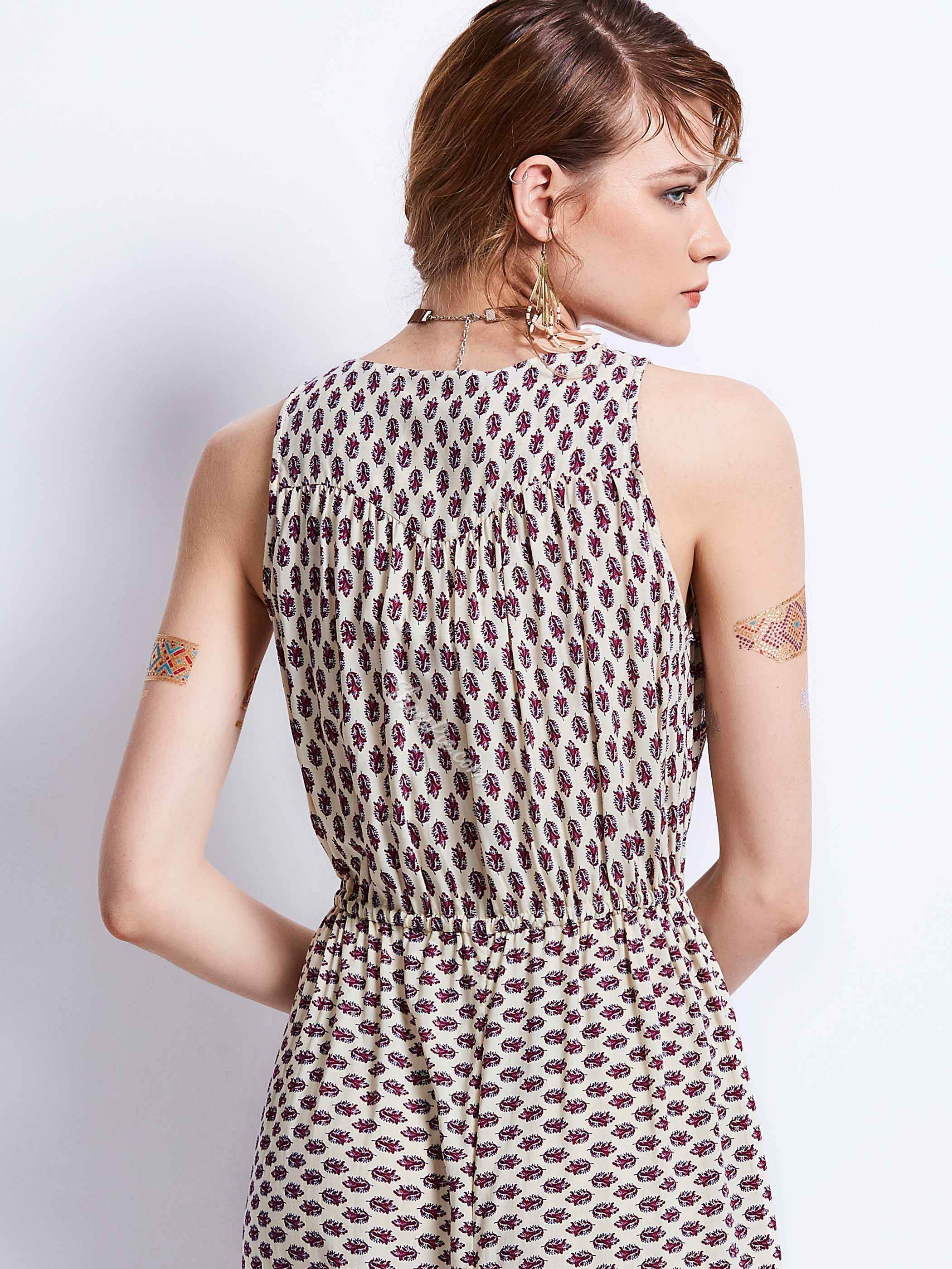 V-Neck Sleeveless Geometric Pattern Maxi Dress